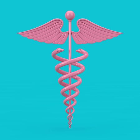 Pink Medical Caduceus Symbol Mockup Duotone on a blue background. 3d Rendering Фото со стока