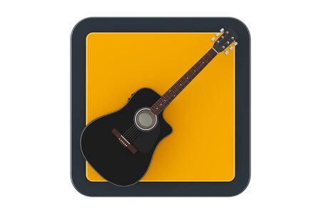 Black Wooden Acoustic Guitar as Touchpoint Web Icon Button on a white background. 3d Rendering 写真素材