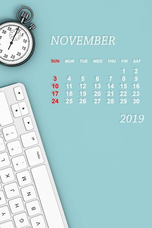 2019 year calendar. November calendar with Stopwatch and Keyboard. 3d Rendering