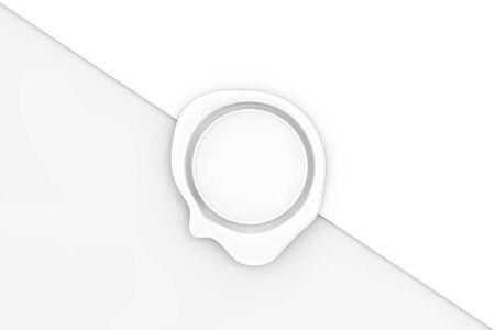 White Wax Seal with Blank Space for Your Design on a white paper background. 3d Rendering