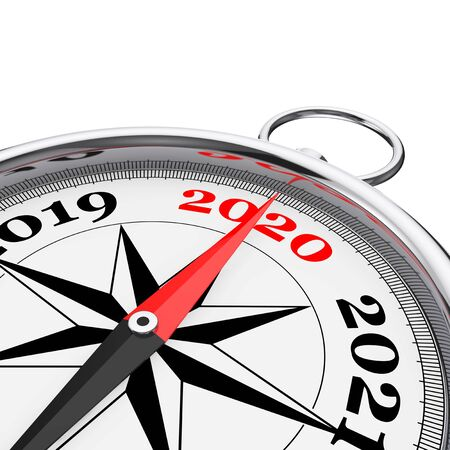 Direction to New 2020 Year Conceptual Compass Closeup on a white background. 3d Rendering