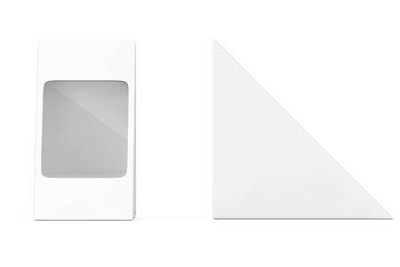 White Cardboard Triangle Pack Pox For Food, Gift Or Other Products with Blank Space for Your Design on a white background. 3d Rendering