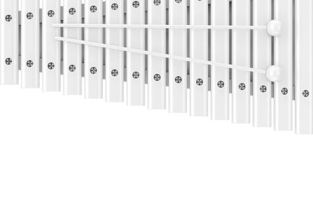White Wooden Xylophone with Mallets Nockup in Clay Style on a white background. 3d Rendering 版權商用圖片