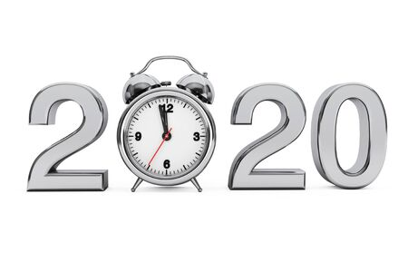 New Year 2020 concept. 2020 Steel Sign with Alarm Clock on a white background. 3d Rendering