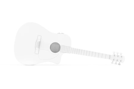 White Acoustic Guitar in Clay Style on a white background. 3d Rendering