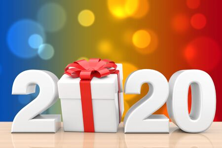 2020 New Year Sign with Gift Box and Red Ribbon on a wooden table. 3d Rendering Stockfoto