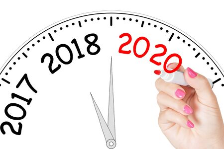 Woman Hand Writing New 2020 Year Message with Red Marker on Transparent Wipe Board on a white background. 3d Rendering Stockfoto
