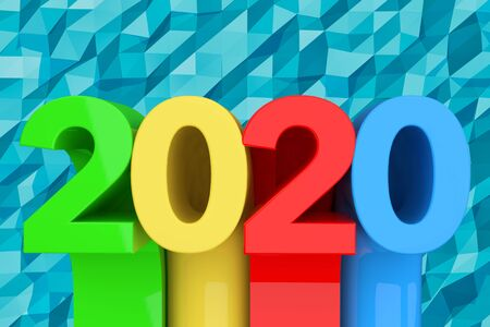 Abstract New 2020 Year Sign over blue lowpoly background. 3d Rendering Archivio Fotografico - 130802104