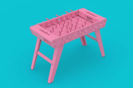 Pink Soccer Table Football Game Mockup Duotone on a blue background. 3d Rendering Stockfoto
