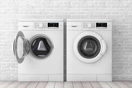 Modern White Washing Machines in Front of White Brick Wall extreme closeup. 3d Rendering