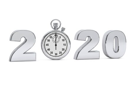 New year 2020 concept. 2020 steel sign with stopwatch on a white background. 3d Rendering
