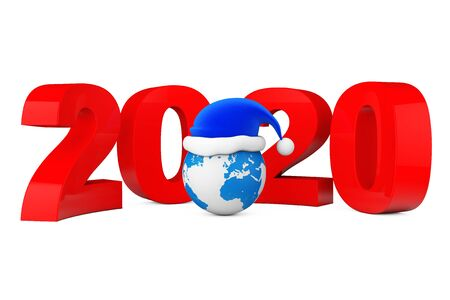 2020 New Year Concept. Santa Hat over Earth Globe on a white background. 3d Rendering Banque d'images - 130802189