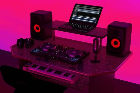 Modern Recording Music Home Studio, Dj Workplace with Electronic Equipment and Instruments on a abstract pink background. 3d Rendering