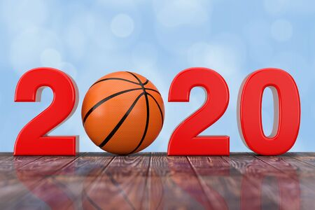2020 New Year Sign with Basketball Ball on a wooden table. 3d Rendering Banco de Imagens