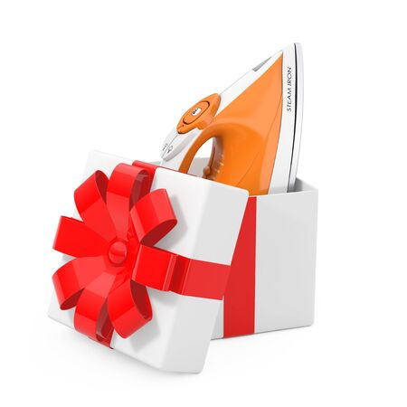 Electric Clothes Steam Iron Come Out of the Gift Box with Red Ribbon on a white background. 3d Rendering
