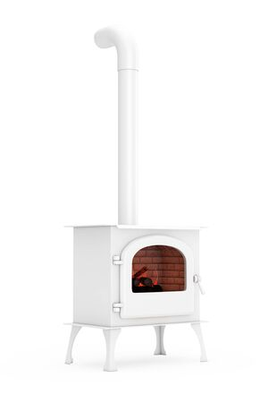 Classic Оpen Home Fireplace Stove with Chimney Pipe and Firewood Burning in Red Hot Flame in Clay Style on a white background. 3d Rendering Stockfoto