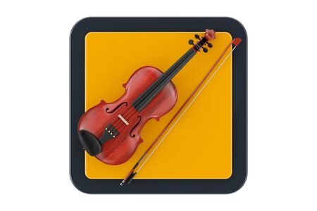 Classical Wooden Violin with Bow as Touchpoint Web Icon Button on a white background. 3d Rendering