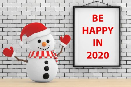 Snowman in front of Brick Wall with Frame Be Happy In 2020 Sign extreme closeup. 3d Rendering