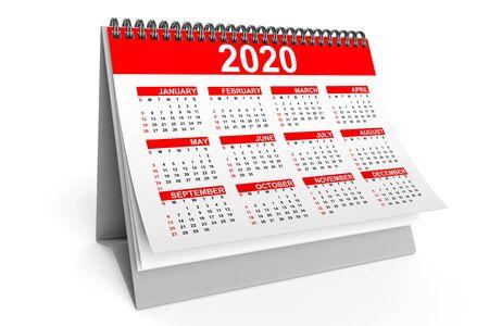 2020 Year Desktop Calendar on a white background. 3d Rendering