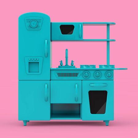 Blue Vintage Toy Kitchen Mockup Duotone on a pink background. 3d Rendering Stok Fotoğraf