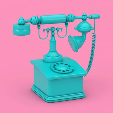 Blue Retro Vintage Styled Rotary Phone Duotone on a pink background. 3d Rendering