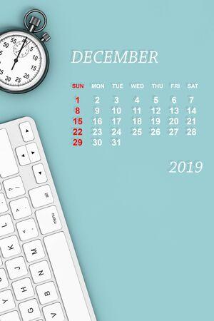 2019 year calendar. December calendar with Stopwatch and Keyboard. 3d Rendering