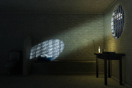 Darl Old Prison Cell Interior for One Person with Bed, Table, Toilet extreme closeup. 3d Rendering
