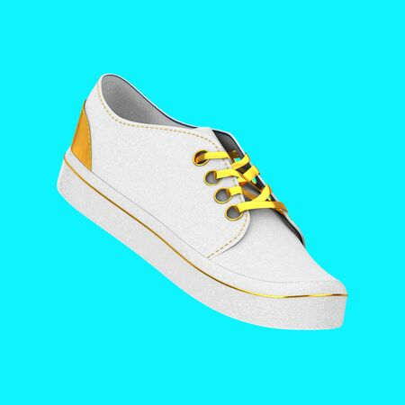 New Unbranded White Blank Sneakers with Golden Lace on a blue background. 3d Rendering