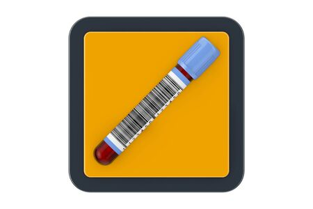 Blood Test Flask Tube as Touchpoint Web Icon Button on a white background. 3d Rendering 스톡 콘텐츠