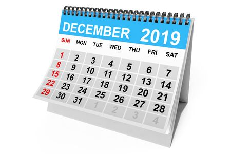 2019 Year December Calendar on a white background. 3d Rendering Stock fotó