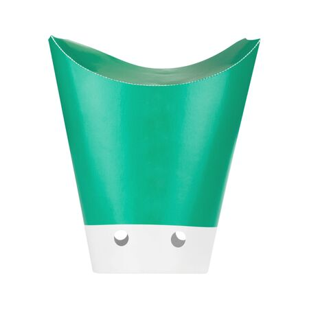 French Fries Disposable Green Paper Box Package on a white background
