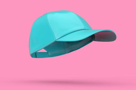 Blue Fashion Baseball Cap Duotone on a pink background. 3d Rendering Stock fotó
