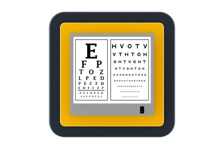 Snellen Eye Chart Test Light Box as Touchpoint Web Icon Button on a white background. 3d Rendering Banco de Imagens