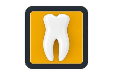 White Healthy Tooth as Touchpoint Web Icon Button on a white background. 3d Rendering