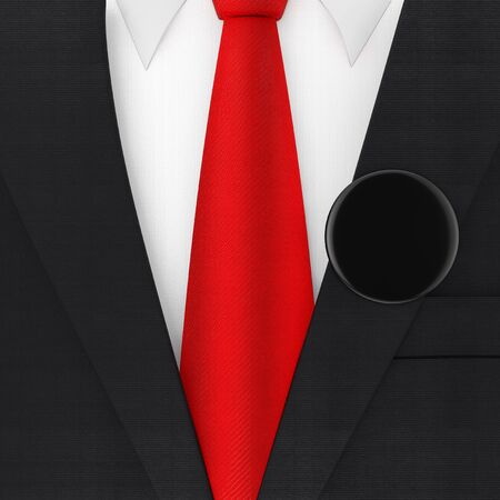 Modern Elegant Man Suit with Red Necktie and Black Blank Vote Badge extreme closeup . 3d Rendering