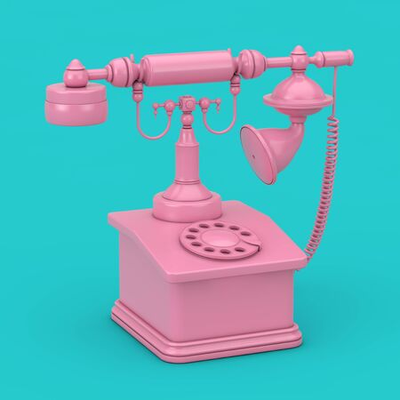 Retro Vintage Styled Rotary Phone Duotone on a blue background. 3d Rendering