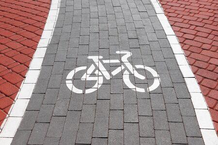 Red and Grey Brick Bicycle Way, Bikeway, Bike Line or Rike Path Symbol extreme closeup
