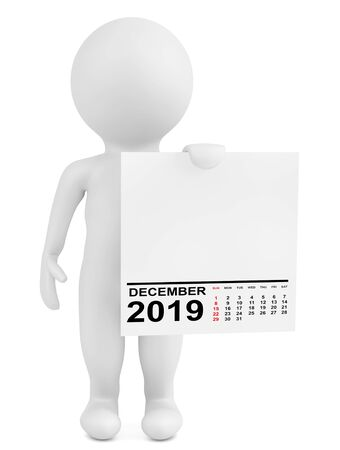 Character Holding Calendar December 2019 Year on a white background. 3d Rendering