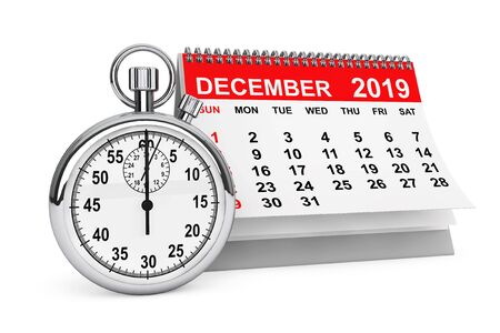 2019 Year December Calendar with Stopwatch on a white background. 3d rendering