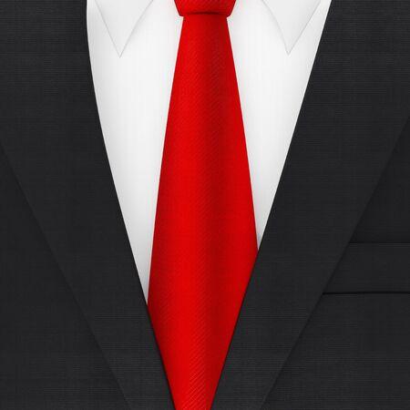 Modern Elegant Man Suit with Red Necktie extreme closeup . 3d Rendering