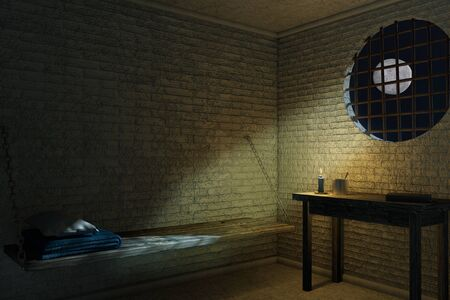 Dark Old Prison Cell Interior for One Person with Bed and Table extreme closeup. 3d Rendering