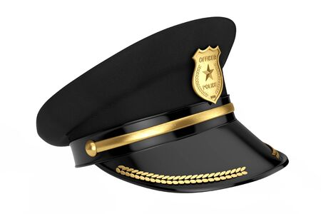 Police Officer Hat with Golden Badge on a white background. 3d Rendering 写真素材