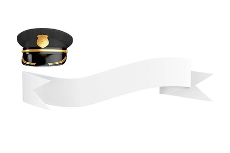 Police Officer Hat with Golden Badge over Blank Ribbon for Your Sign on a white background. 3d Rendering 写真素材