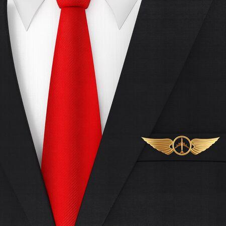 Modern Elegant Man Suit with Red Necktie and Golden Pilot Wing Emblem, Badge or Logo Symbol extreme closeup . 3d Rendering