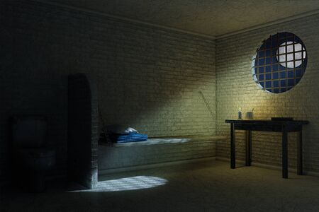 Dark Old Prison Cell Interior for One Person with Bed, Table, Toilet extreme closeup. 3d Rendering Stock Photo