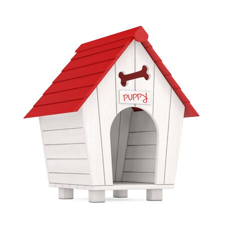 Wooden Cartoon Dog House with Red Roof and Puppy Sign on a white background. 3d Rendering