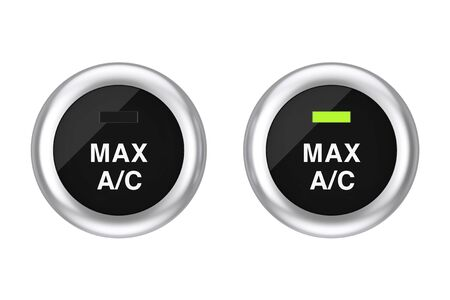 Car Air Condition Button on a white background. 3d Rendering