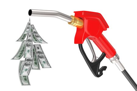 Gasoline Pistol Pump Fuel Nozzle, Gas Station Dispenser with Droplet of Dollars Bills on a white background. 3d Rendering Stok Fotoğraf