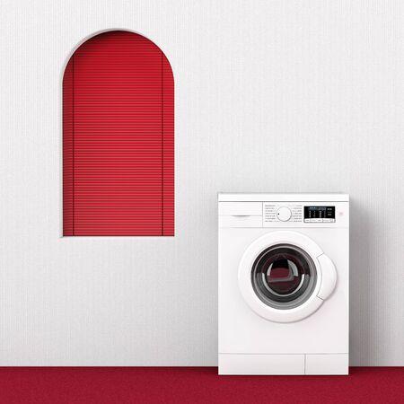Modern Washing Machine near Red Window extreme closeup. 3d Rendering