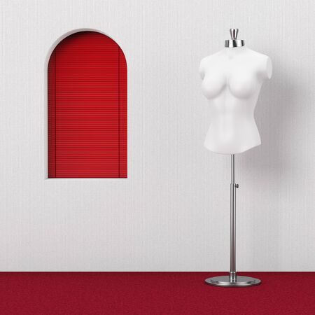 White Vintage Tailor Women Mannequin near Red Window extreme closeup. 3d Rendering